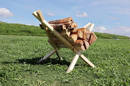 自作の薪スタンド